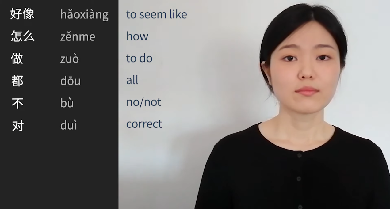 screengrab from Mandarin Click lesson, highlighting instructor, stock image, transcription of lesson and pinyin transliteration.